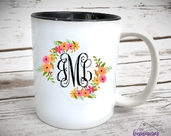monogram coffee mug etsy