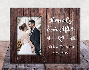 happily ever after picture frame bride and groom picture frame wedding frame wedding picture frame bridal shower gift happyism