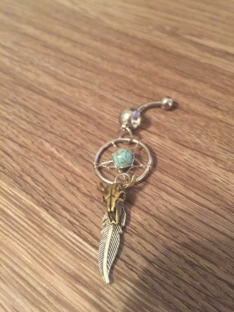 Cow Skull Dream Catcher Belly Ring Cow Head Belly Ring Feather Belly Ring Southwestern Country Belly Ring Tribal Boho Western Turquoise