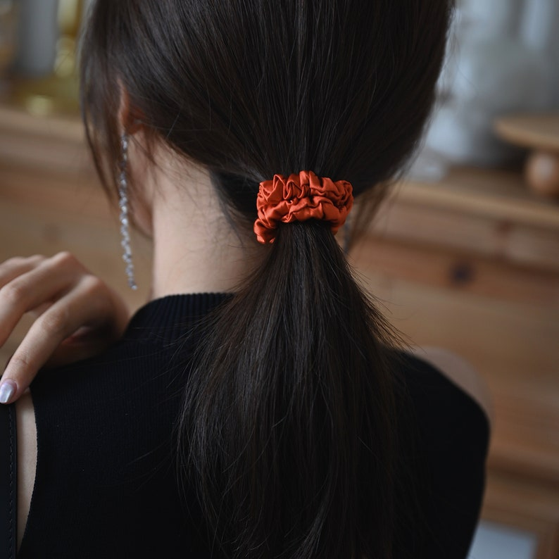 GIFT FOR HER, Hair Accessory Orange Charmeuse 19mm Silk Scrunchies Elastic Scrunchies Hair Scrunchies Hair Ties Scrunchy