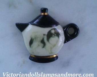 NEW PORCELAIN  Magnet WITH Japanese Chin Dog with black and gold china paint