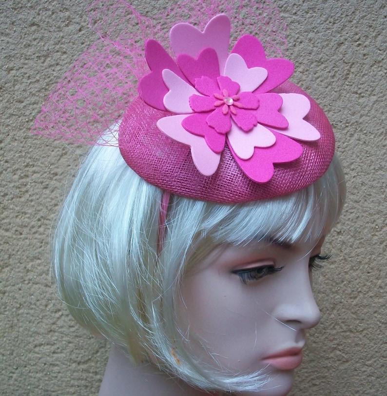 443280bdcef2b Pink Fascinator Headband Pink Wedding Hat Ascot Hat