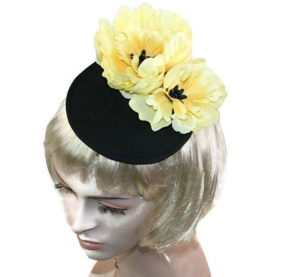 Black Hat Yellow Hat Black cocktail hat Yellow Cocktail Hat  e8cc38dc67b