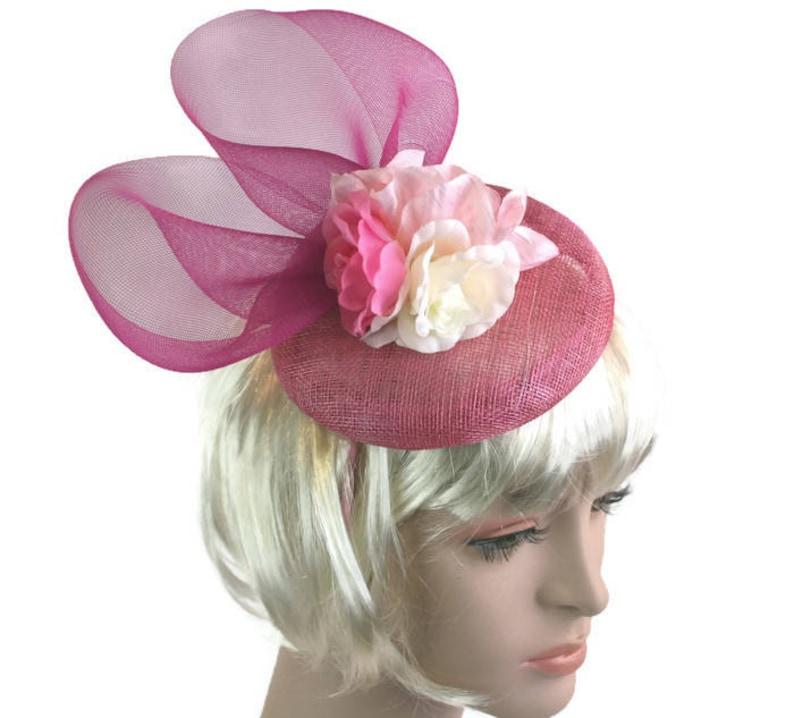 16f7d4baddd0a Rose Pink Hat Pink Fascinator Hat for wedding pink cocktail