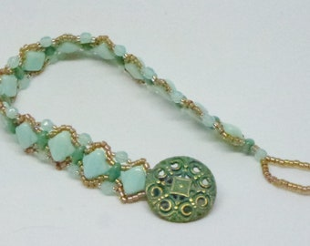 Turquoise Pinch beads, Czech fire polished beads and super duo beads, Topaz seed beads Bracelet with Metal Button closure