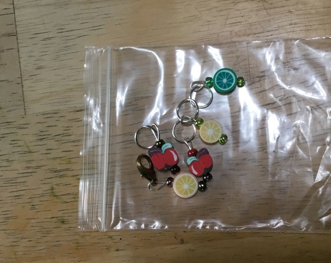Assorted fruit stitch markers