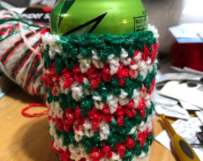 Christmas can cozy, holiday stocking stuffer,