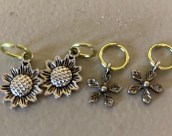 Sunflower stitch markers, flower stitch markers, flower stitch marker set, seasonal markers,