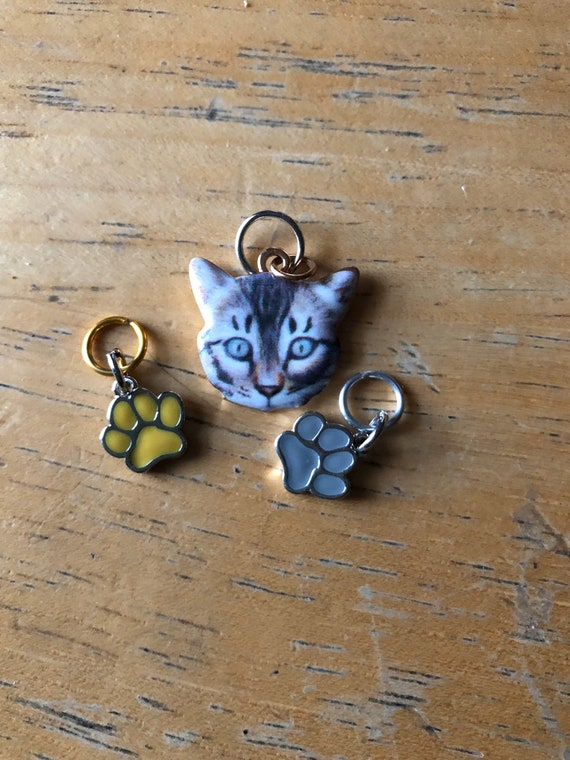 pet stitch markers, cat markers
