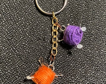 Yarn and needles keychain, yarn ball keychain, keychains, diy keychains