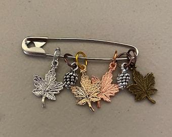 Falling leaves, maple leaf stitch markers, leaf marker set
