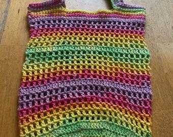 Market tote bag, crochet round bag, market bag, fillet crochet bag
