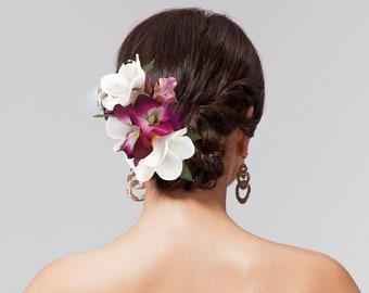 Custom Bridal Hair flower Beach Hawaiian flower clip Silk Hair flowers hair accessory Wedding Headpiece Fascinator Tropical flower