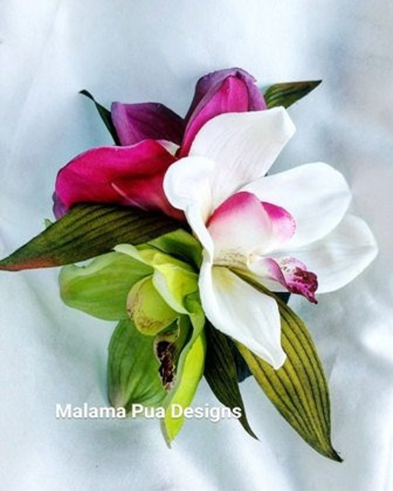 Tropical Hair Clip Hair Accessory Silk Orchids Custom Hair Etsy