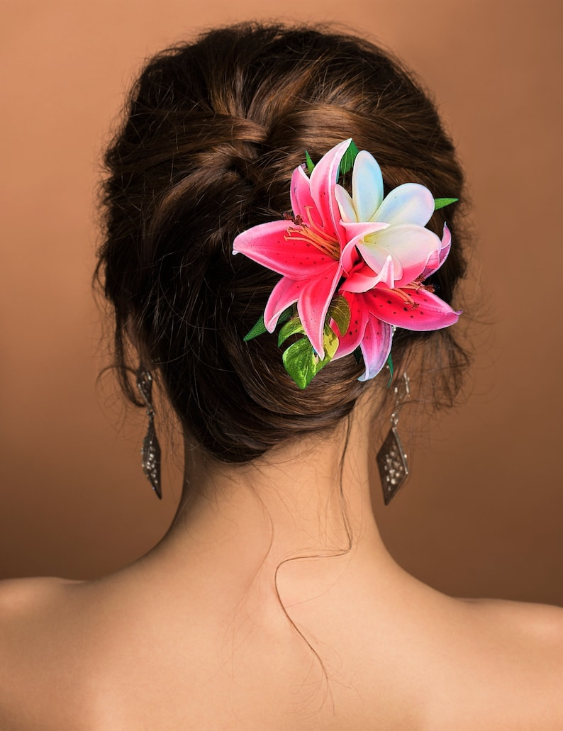 Hair accessory Silk Flower HAIR COMB Fascinator Orchids bridal clip Headpiece Beach Wedding Hawaiian custom hair piece Hair clip