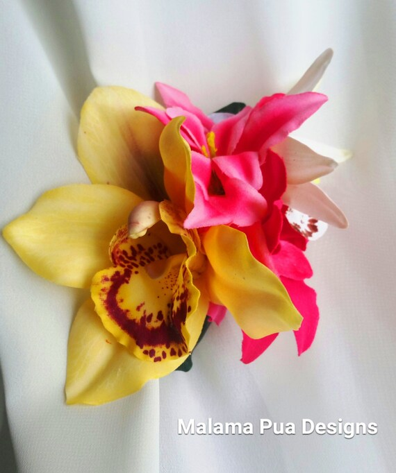 Large Triple White Pink Orchid Flower Hair Clip Fascinator 1950s Rockabilly 6750