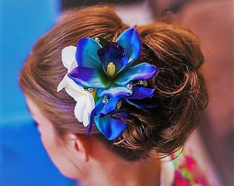 Wedding headpiece, hair accessory, hair clip, Blue orchid & Plumeria, custom Bridal hairpiece, hair flowers, Beach wedding, Fascinator, comb