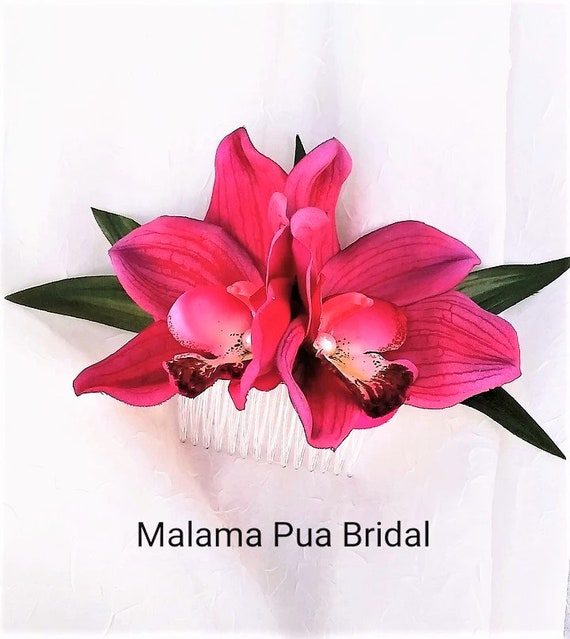 Hawaiian Wedding Beach Headpiece Hair flower flower clip,fascinator Bridal Hair accessory Custom Hair piece TROPICAL ORCHID Hair clip