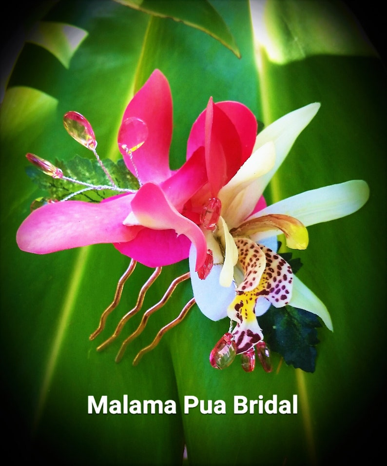 Tropical Hair Accessory silk flowers Real Touch Orchid Bridal Hawaiian Hair clip Headpiece Beach Bride silk flower BRIDAL HAIR COMB