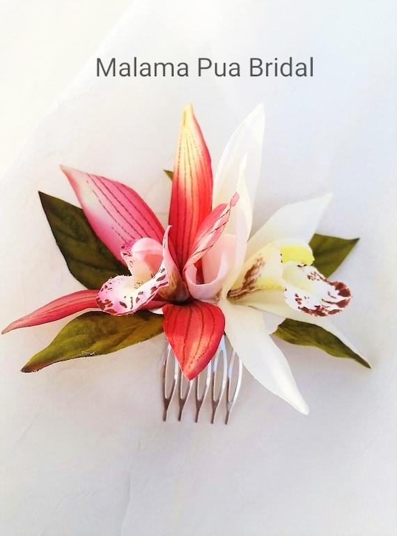 Bridal Hair Comb Headpiece Silk Hair Flower Double Orchid Etsy
