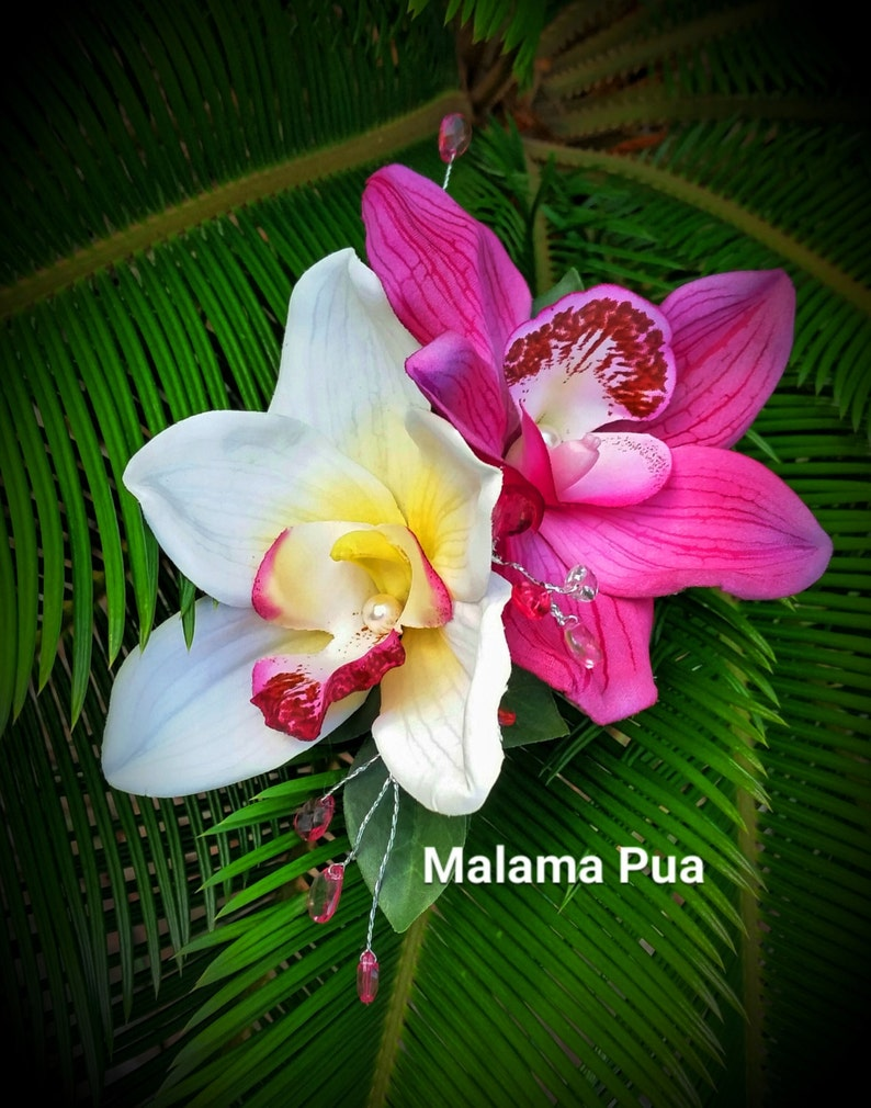 Tropical Headpiece Fuchsia /& White orchid Hair flowers hair accessories Bridal Hair piece Wedding Hair clip Hawaii Hair comb fascinate