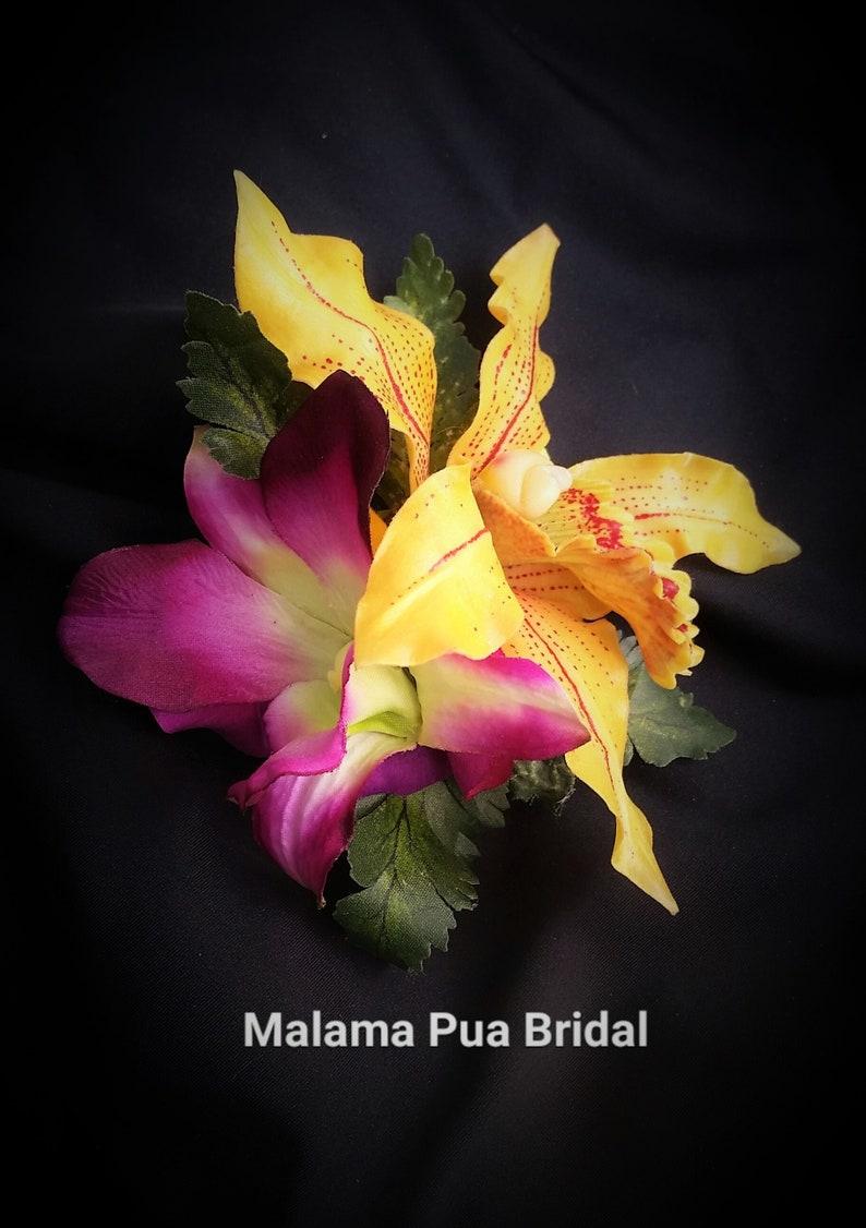 Hawaiian Tropical Headpiece TROPICAL HAIR FLOWERS Beach Wedding hair clip Silk flowers Fascinator Bridal headpiece Wedding flowers