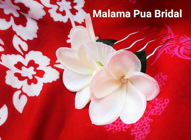 Tropical real touch hair flower Bridal Hairpiece Hawaiian Plumeria Hair comb hair clip floral hair accessory Beach Wedding silk flower
