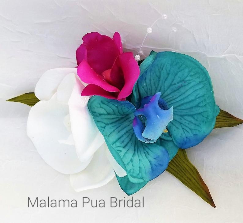 Tropical Hair Flower Turquoise /& white silk Orchid Hawaiian Bridal Headpiece Beach Wedding Purple silk flower Wedding Hair piece comb