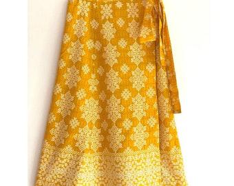 Boho Gypsy Skirt - Wrap Skirt, Bright Yellow with cascading white border, long Indian cotton hippie skirt, snowflake print, summer fashion