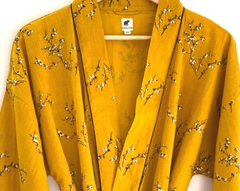 Kimono Robe, Resort Wear, Lounge Wear, Beach Cover up, Yellow , Black and gold   Print, Light Weight Not Transparent