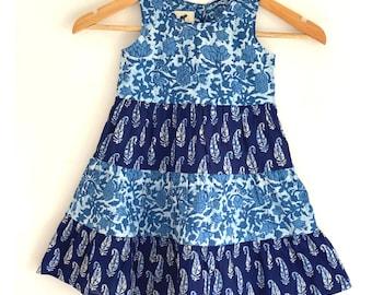 Girls Tier Dress - Indigo floral hand block print girls dress