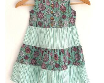 Girls Tier Dress - Sea green floral + stripes combination hand block printed dress
