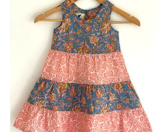Girls Tier Dress - Blue and orange hand block printed girls dress
