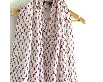 Stole / Scarf - Purple and white with  Floral  Hand Block Printed cotton scarf