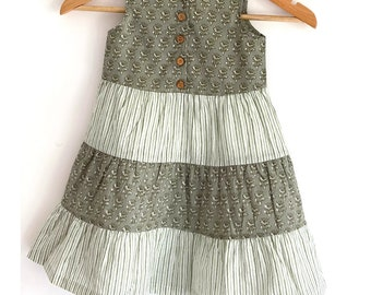 Girls Tier Dress -Slate grey and khaki floral and stripes hand block print combination