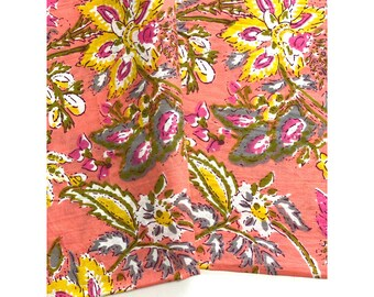 Bandana, Block Printed Indian Cotton, Multi Floral  print , Face Mask, Headband, Neckerchief, Bag Scarf , Head Scarf, Turban Scarf, Napkin
