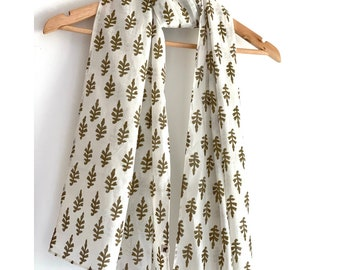Stole / Scarf - Mud green and white with  Floral  Block Printed