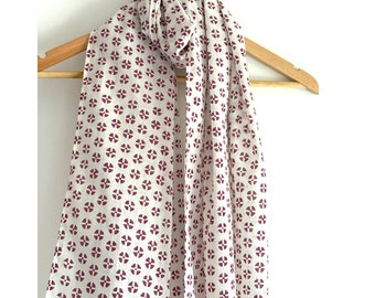 Stole / Scarf - Purple and white with  Floral Hand Block Printed