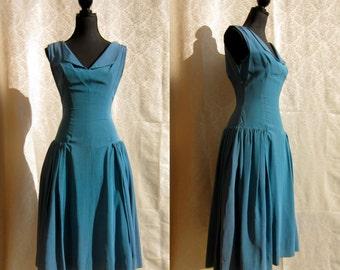 42522a0640 Vintage 50 s Cornflower Blue Drop Waist Cocktail Soiree Evening Dress Mad  Men Betty Draper Style