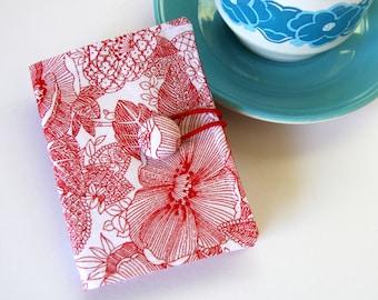 Tea Bag Wallet, Travel Tea Purse, Gift for tea Lover - Red Flowers on White