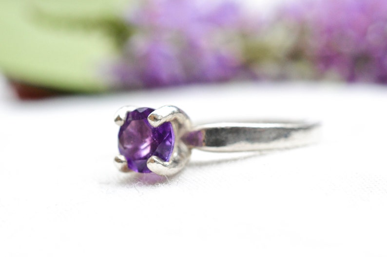 Natural Amethyst Ring with 925 Sterling Silver *Free Worldwide Shipping*