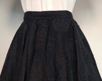 1950s black taffeta full circle skirt / flocking