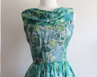 1950s Green / Blue Floral Chiffon dress M