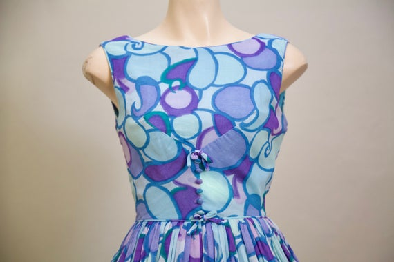 1950s fit and flare / blue purple and teal dress w
