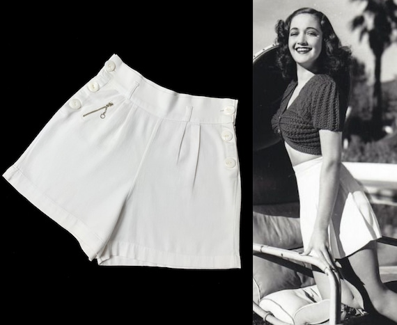 1930s 1940s Sailor Style Tennis Shorts with tiny p