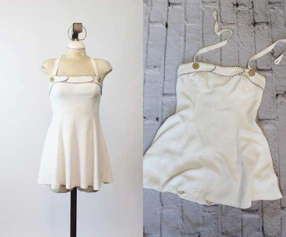 40s Bathing Suit XS / 1940s One Piece Skirted Swi… - image 3