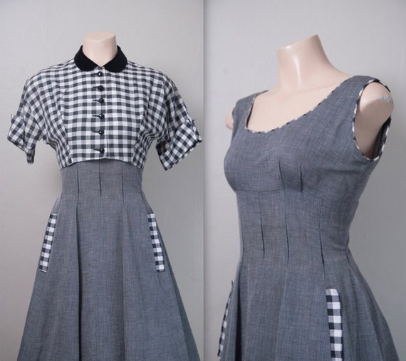 1950s Black, White and Grey Gingham dress and bole