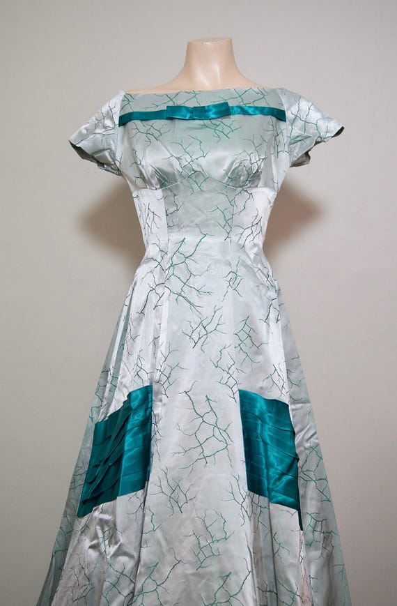 1940s /1950s Teal and Silver Brocade ball gown / p