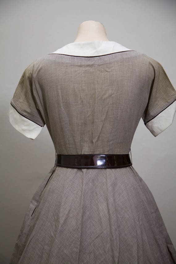 1950s fit and flare brown gingham dress - image 8
