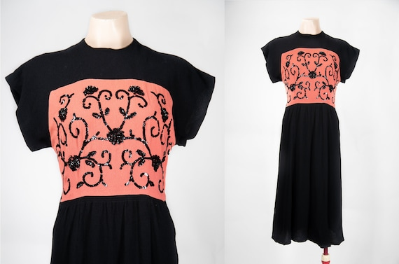 Vintage 1940s Dress / 40s Rayon Crepe Sequined Flo